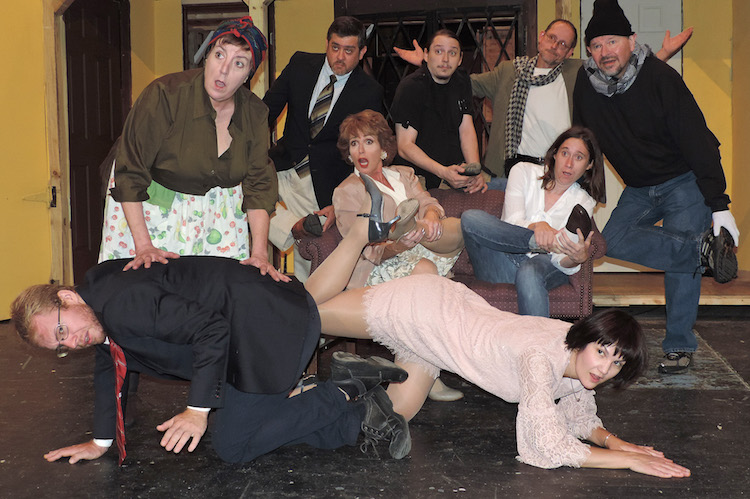 Modern comic masterpiece noises off at towngate theatre for Farcical comedy