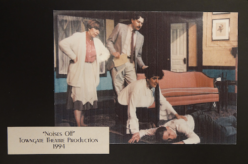 "Press photo of Towngate Theatre's 1994 production of ""Noises Off."" Crosbie is pictured on the left."
